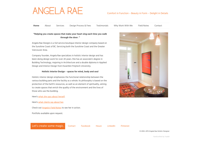 Angela Rae Website - homepage