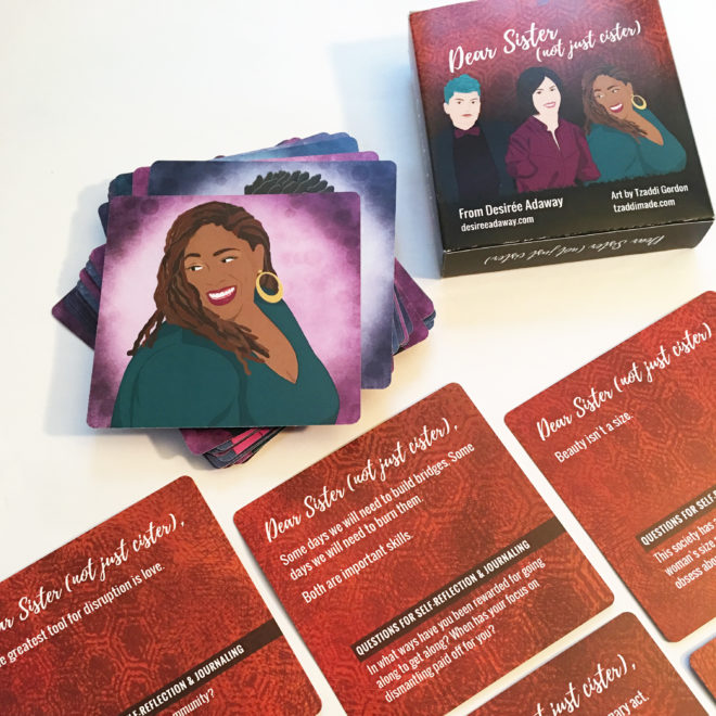 writing prompt cards with women's portraits on the back