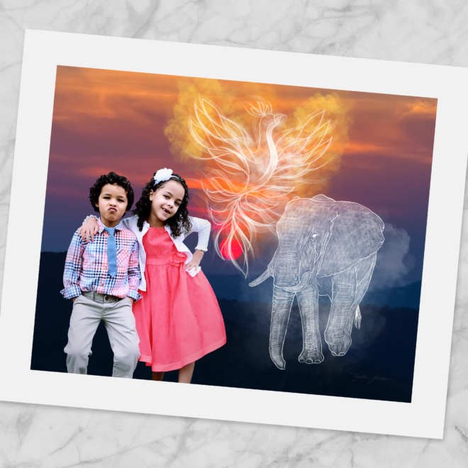 A collage with 2 kids, an elephant, a phoenix