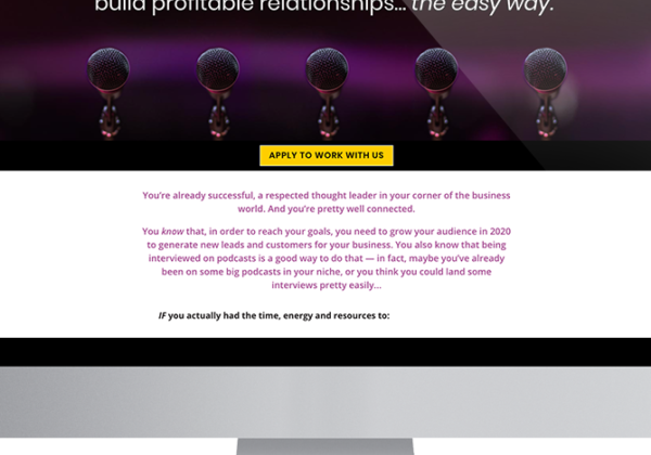 a screen displaying the Podcast Ally sales page