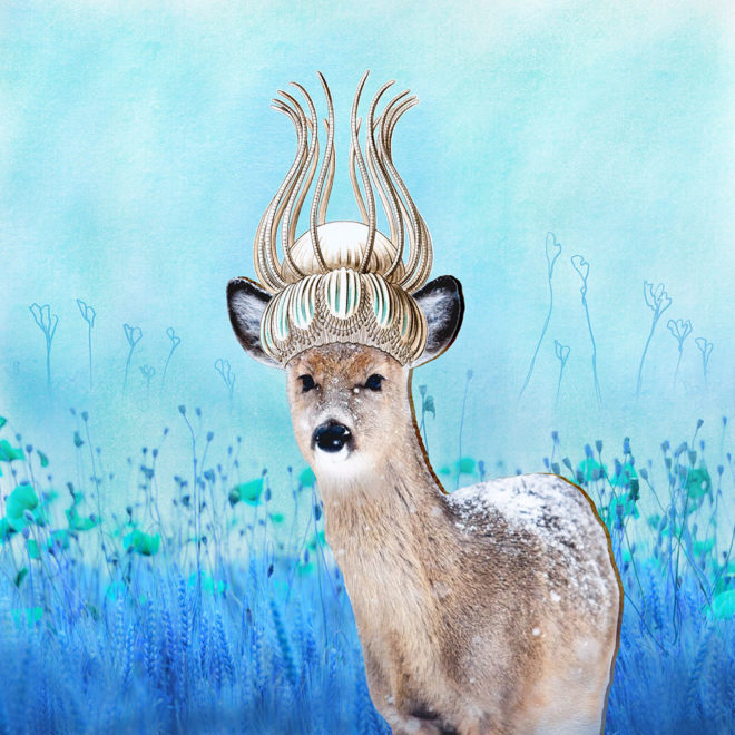"""Crowned Deer"" digital collage by Tzaddi Gordon"