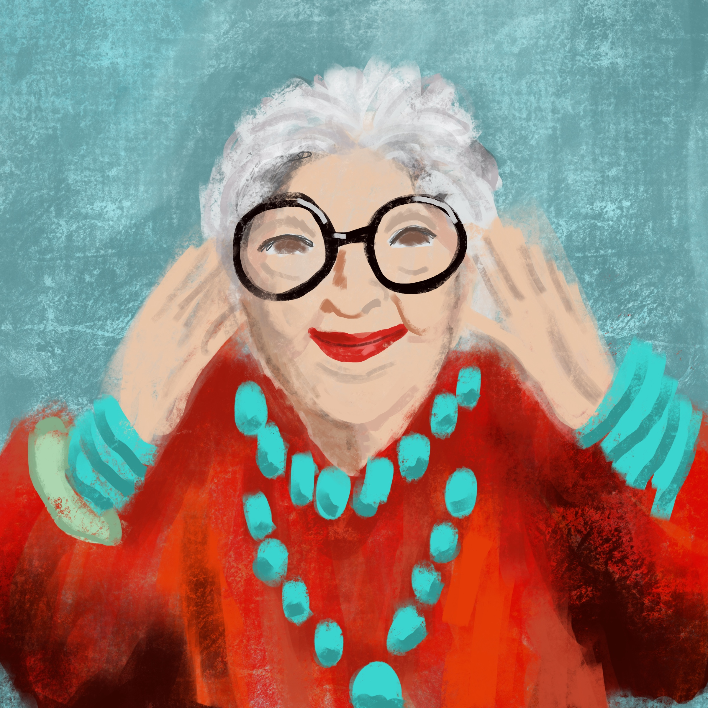 Digital painting of Iris Apfel by Tzaddi Gordon