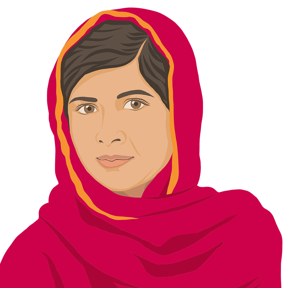 Digital portrait of Malala Yousafzai by Tzaddi Gordon