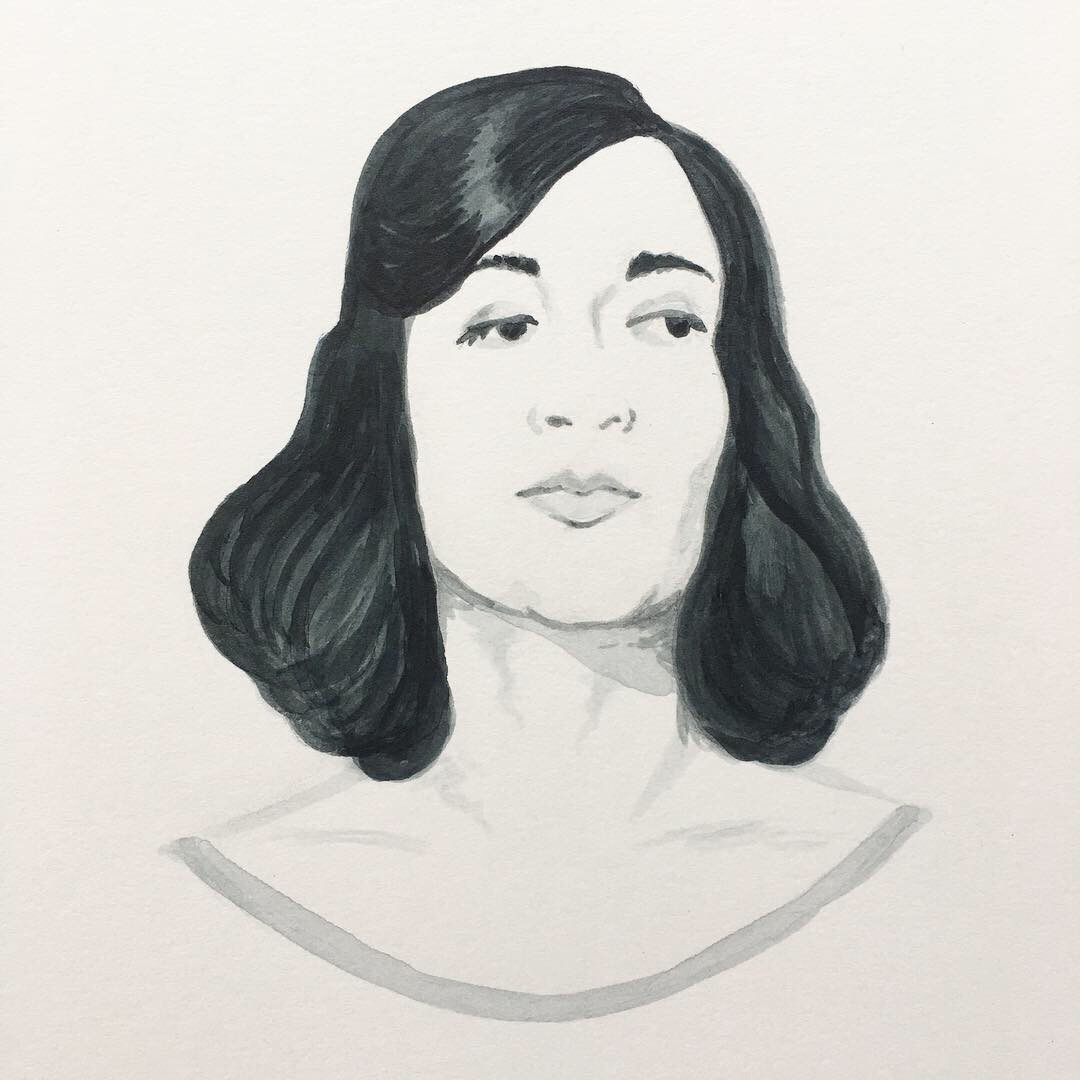 Ink portrait of Marisol Escobar by Tzaddi Gordon