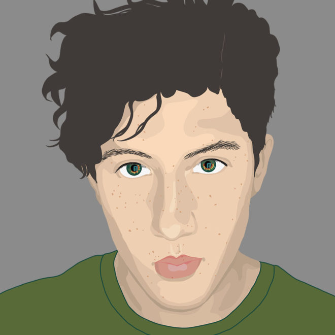 Digital portrait of a young androgynous person, by Tzaddi Gordon